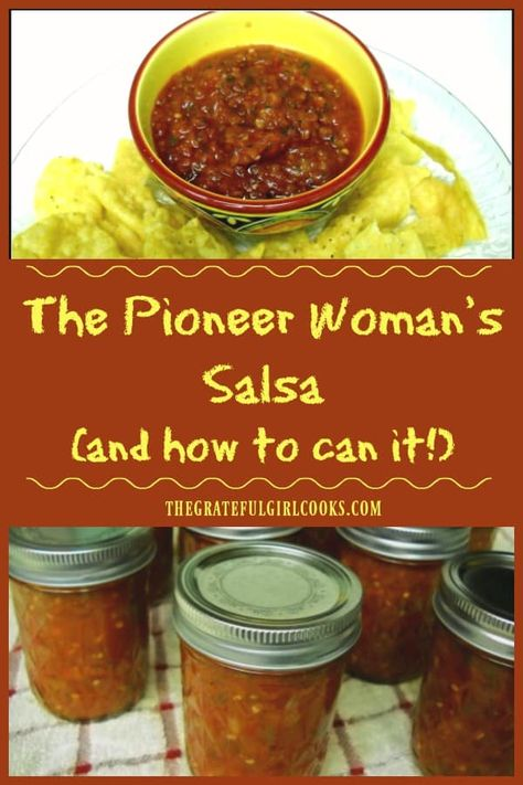 The Pioneer Woman's Salsa (and how to can it!) / The Grateful Girl Cooks! The Pioneer Woman's Salsa (and how to can it!) / The Grateful Girl Cooks! The Pioneer Woman's Salsa (and how to can it!) / The Grateful Girl Cooks! The Pioneer Woman, Pioneer Woman Salsa, Pioneer Woman Recipes, Pioneer Women, Guacamole Recipe Pioneer Woman, Salsa Canning Recipes, Canning Salsa, Salsa Recipe Easy, Cooked Salsa Recipe