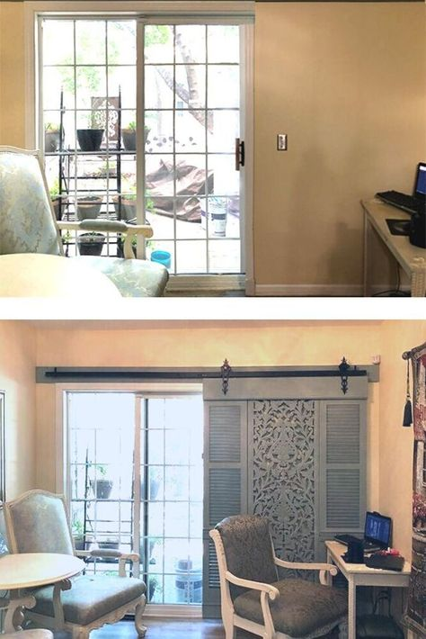 Large window shutters and sliding door DIY idea to create more privacy to patio exit.