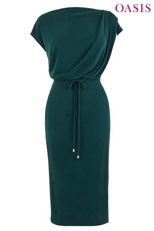 Oasis Green Flower Press Embroidered Cuff Knit Dress Love The
