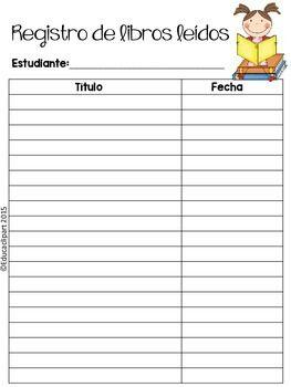 Registro De Libros Leídos Classroom School Homeschool