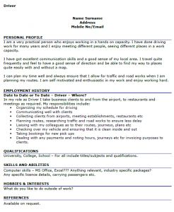 Driver Cv Example  Hair And Beauty    Cv Examples