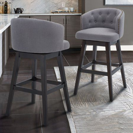 Saginaw 30 Inch Bar Height Wood Swivel Tufted Barstool In Espresso Finish With Grey Fabric Brown Kitchen Island Chairs With Backs Bar Stools Bar Furniture