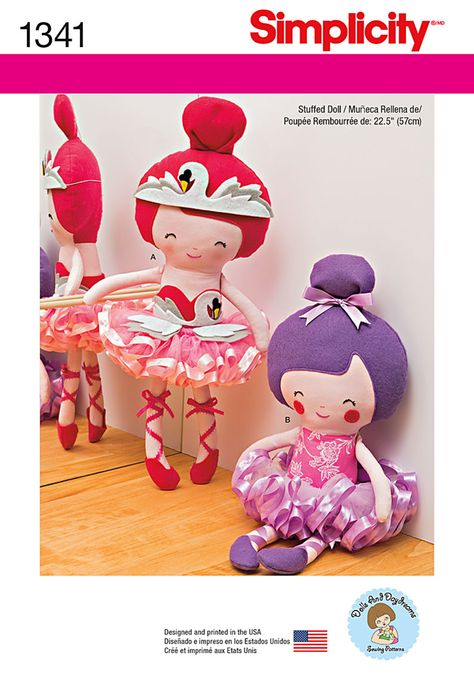 """Sew adorable 22.5"""" ballerina dolls with thick or thin lace ballet slippers with optional swan headband and bodice. Both have the most perfect pull on tutu."""