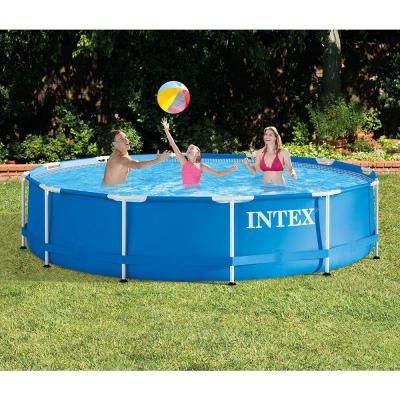 Intex 12 Ft X 30 In Metal Frame 1718 Gal Capacity Above Ground Pool 28210eh The Home Depot Above Ground Swimming Pools Intex Swimming Pools