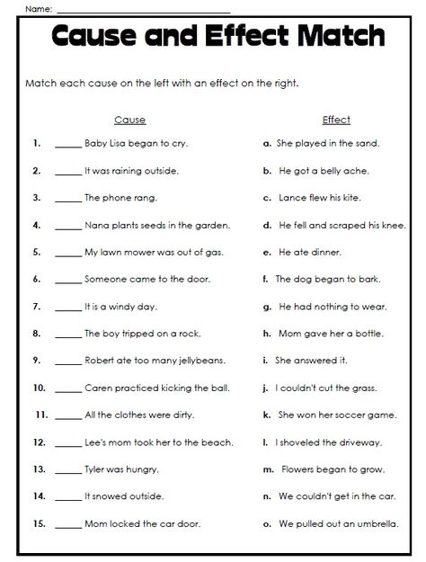 Free Printable Cause And Effect Worksheet Super Teacher Worksheets Cause And Effect Worksheets Cause And Effect
