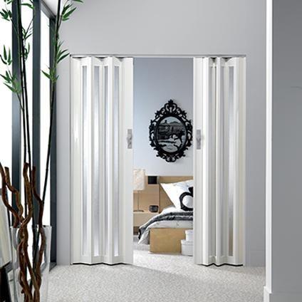 Porte Accordeon Vitree Grosfillex Larya Pvc Blanc 205x84cm