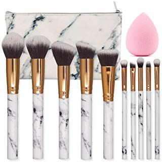 Seprofe Make Up Brushes 10 Pieces Marble Pattern Professional Makeup Brush Set Kabuki Founda Makeup Brush Set Makeup Brush Set Professional Wand Makeup Brushes