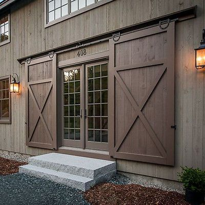 Horseshoe Wood Sliding Barn Door Hardware Rustic 6 8 10 12 16 Ft For Double Door Exterior Barn Doors Exterior Sliding Barn Doors Garage Door Design