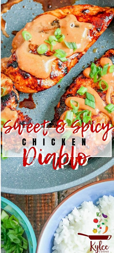 This spicy, sweet and creamy Chicken Diablo is a super easy dinner, that will satisfy the family. Ramp the heat up, or dial it down to your liking!  #chicken #dinner #marinade #spicy #kyleecooks