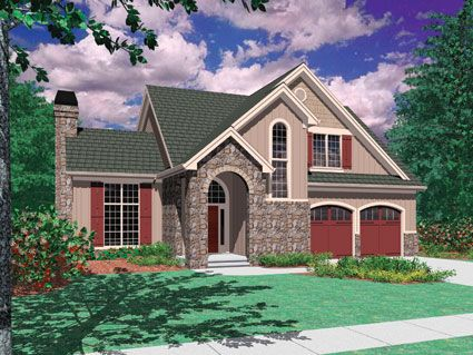 Add French country charm to any neighborhood with this great two-story Cottage style  home.  House Plan # 441021.