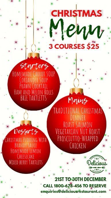 create a christmas menu online free