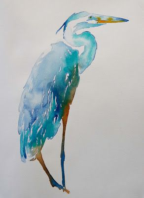 Heron Watercolors Available Watercolor Bird Watercolor