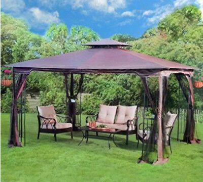 Steel Gazebo Large Pergola Heavy Duty 11x13 Fabric Canopy Roof Patio Metal Frame Patio Gazebo Backyard Makeover Patio Canopy