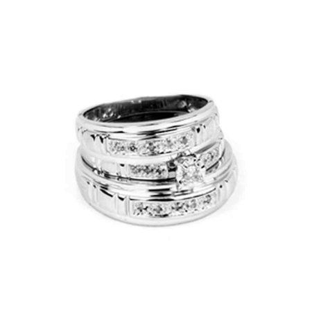 10kt White Gold His Hers Round Diamond Solitaire Matching Bridal Wedding Ring Band Set 1 6 Cttw Wedding Ring Bands Set Wedding Rings Solitaire Wedding Rings