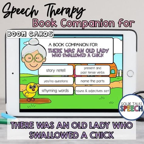 Boom Cards Book Companion for There Was an Old Lady Who Swallowed a Chick