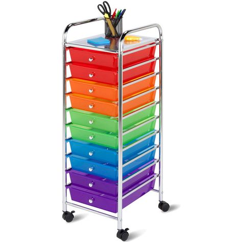 Honey Can Do 10 Drawer Multicolor Rolling Storage Cart 120