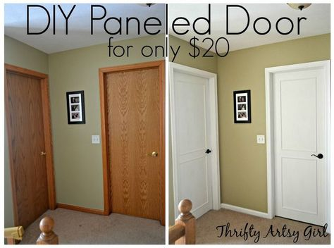 Hollow Core Bore to a Beautiful Updated Door: DIY Slab Door Makeover/(Pinning just in case I purchase an older home & want to redo the doors) Ya never know! Closet Door Makeover, Front Door Makeover, Diy Interior Door Makeover, Diy Interior Doors, Interior Design, Replacing Interior Doors, Door Redo, Diy Closet Doors, Cabinet Makeover