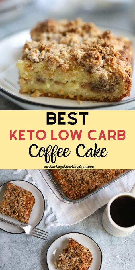 Keto Coffee Cake is the perfect treat alongside a cup of coffee! This cake is pe… Keto Coffee Cake is the perfect treat alongside a cup of coffee! This cake is perfectly soft with a delicious cinnamon crumb streusel in the top and middle of cake! Keto Cake, Keto Cheesecake, Keto Cupcakes, Low Carb Sweets, Low Carb Desserts, Low Carb Recipes, Dessert Recipes, Cake Recipes, Bread Recipes