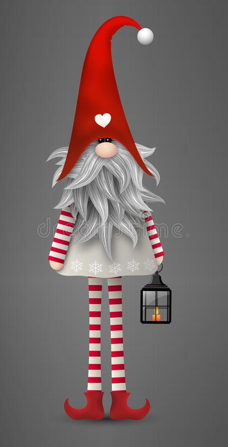 Traditional Scandinavian Christmas Gnome Tomte Illustration Vector Illustration Christmas Gnome Christmas Art Christmas Paintings