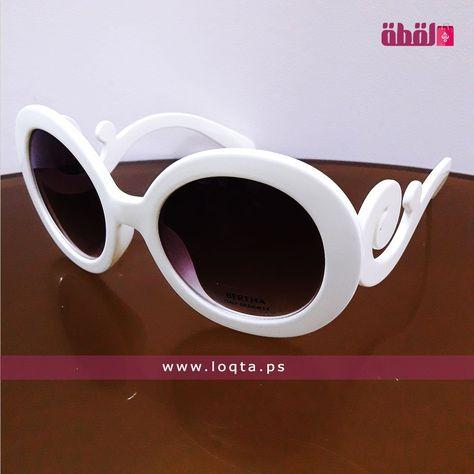 نظارة شمسية نسائية إطار بلاستيك لون أبيض مزخرف عدسة دائرية Loqta Ps Sunglasses Sunglasses Women Oval Sunglass