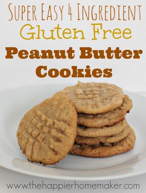 Easy 4 ingredient gluten free (no flour!) peanut butter cookie recipe!