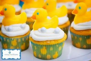 duck shower theme...such cute cupcakes/cupcake liners!