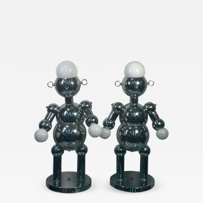 Great Pair Of Modernist Chrome Robot Lamps By Torino By Torino Lamp Co Robot Lamp Lamp Chrome
