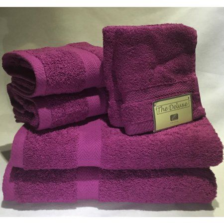 Bath Towels At Walmart Fascinating Deluxe Basics 6Piece Solid Luxury Towel Set Pink  Products Design Inspiration