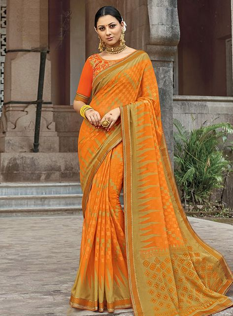 e6d2381f5449b8 Buy Orange Brasso Festival Wear Saree 148547 with blouse online at lowest  price from vast collection of sarees at Indianclothstore.com.