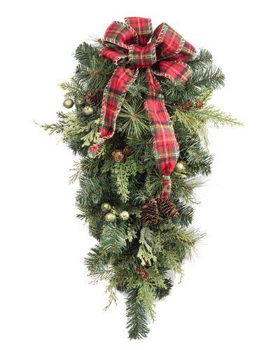 Woodland FarmhouseArtificial Holiday Teardrop GREEN