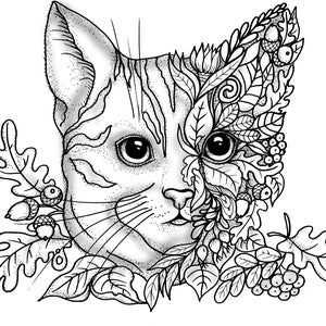 Diy Stranicy Raskraski Dlya Vzroslyh Pechat Koshka Listya Raskraski Etsy In 2020 Owl Pictures To Color Animal Coloring Pages Kitty Coloring