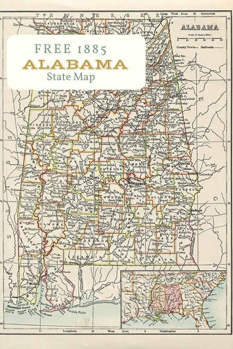 Free printable old map of Alabama from 1885. #map #usa   Map ...