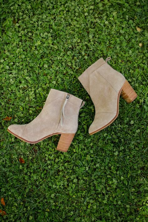 Go for a chunky wooden heel with TOMS suede Lunata Booties.