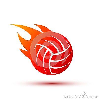 Fiery Volleyball Ball Vector Fire Ball Logo Design Logo Design Design Vector