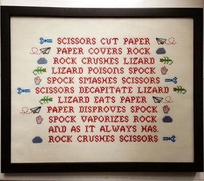 Sheldons Rock, paper, scissors, lizard, spock cross stitch embroidery FREE cross stitch chart