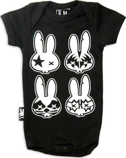Six Bunnies Rock n Roll Baby Romper Retro Rockabilly Tattoo Unisex Bodysuit Gift