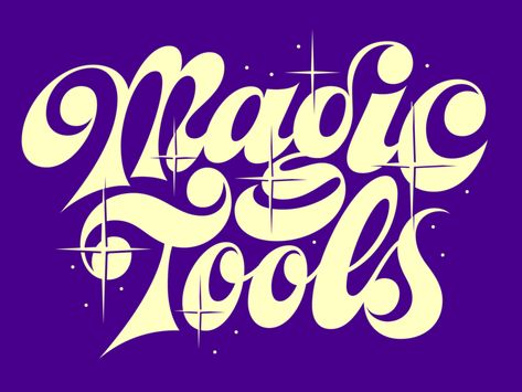 Magic Tools by Flora de Carvalho on Dribbble Retro Typography, Typography Alphabet, Japanese Typography, Typography Poster, Graphic Design Typography, Lettering Design, Retro Logos, Hand Lettering Styles, Hand Drawn Lettering
