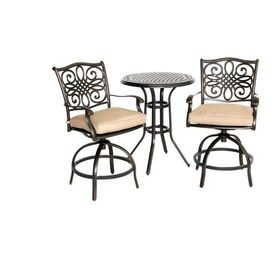 Hanover Outdoor Furniture Traditions 3 Piece Tan Frame Bistro Patio Set With Natural Oat Hanover Cushions Bistro Lowes Com Outdoor Bistro Set Bistro Patio Set Bistro Set