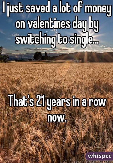 """""""I just saved a lot of money on valentines day by switching to single...That's 21 years in a row now. """""""