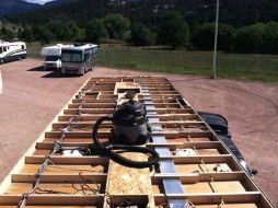 Rv Roof Replacement Using Line X On A Weekend Warrior Fifth Wheel Reroofing Diy Travel Trailer Travel Trailer Remodel