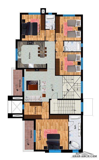 تصميم فيلا عمان الاردن 3 طوابق مسطح البناء 650 متر مربع من اعمال التصميم المعماري التصميم الإنشائي إدارة المشاريع الإشراف الهندسي Arab Arch Design Floor Plans