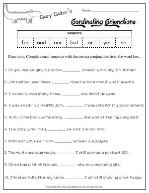 Worksheet Gary Gator S Coordinating Conjunctions Fanboys