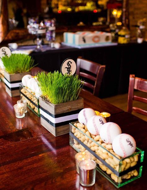 Super baby shower centerpieces for boys baseball bar mitzvah Ideas Sports Centerpieces, Baseball Centerpiece, Bar Mitzvah Centerpieces, Wedding Reception Centerpieces, Baseball Party Decorations, Grass Centerpiece, Ball Decorations, Shower Centerpieces, Planning Sport