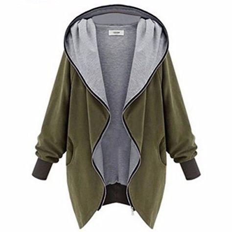 ZANZEA Herbstjacke Damen Hoodie Kapuzenjacke Baggy Mantel Jacke Parka Trench Coat
