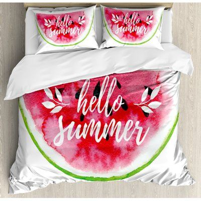 East Urban Home Lifestyle Watercolor Watermelon Figure With Hello