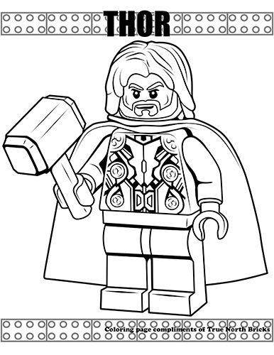 Coloring Page Thor True North Bricks Lego Coloring Pages Lego Coloring Avengers Coloring Pages