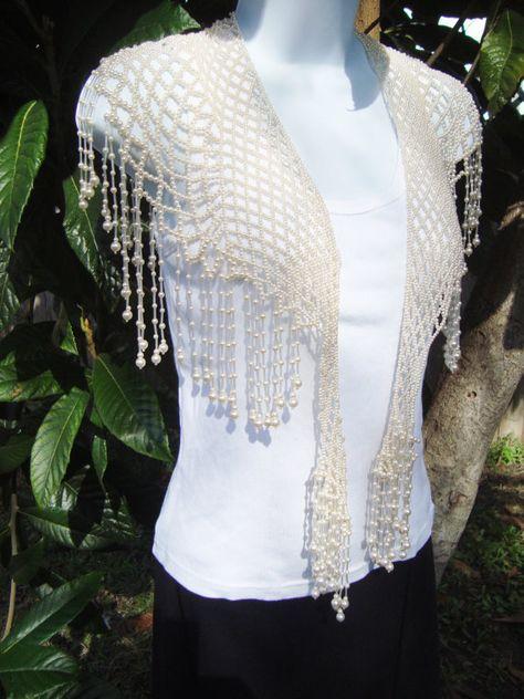 Vintage Bead Shawl Capelet Collar Flapper Top Cloak Wedding Top Cream Beads