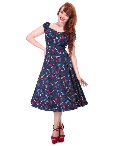 5f52f48b7936 Collectif Dolores 50s Style Blue Paper Pin-up Doll Dress
