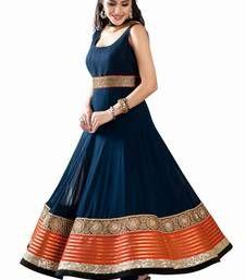 Buy Navy blue georgette embroidery semi stitiched salwar with dupatta party-wear-salwar-kameez online