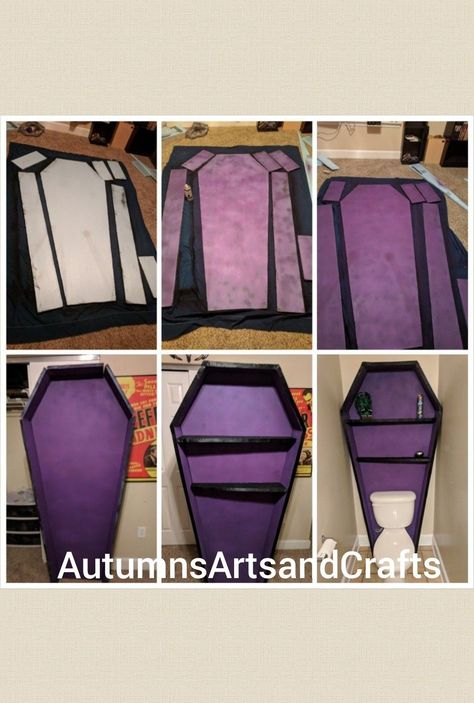 Coffin shelf DIY I made a shelf for my bathroom with a board of 1 inch thick ins… Coffin shelf DIY I made a shelf for my bathroom with a board of 1 inch thick insulation foam, spray paint, ribbon and spray glue! Goth Home Decor, Halloween Home Decor, Diy Halloween Decorations, Halloween House, Halloween Diy, Diy Home Decor, Gypsy Decor, Gothic Furniture, Diy Furniture